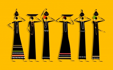 Ethnic women with jugs for your design Vector