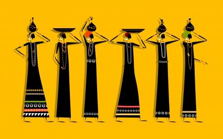 ilustraciones africanas: Mujeres de grupos étnicos con jarras para su diseño