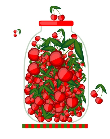 Bank with cherry jam for your design Stock Vector - 13816078