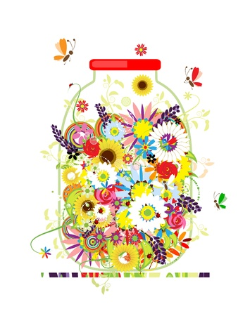 field of flowers: Floral honey. Jar with summer flowers for your design
