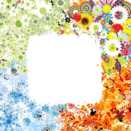 snow fall: Four seasons frame - spring, summer, autumn, winter.  Illustration