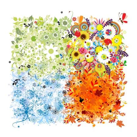 四季分明——春、夏、秋、冬。