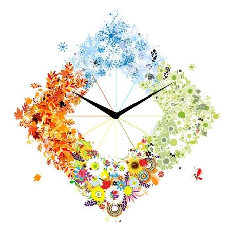 Design of clock  Four seasons, concept Stock Vector - 13816072