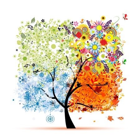 snow fall: Four seasons - spring, summer, autumn, winter  Art tree beautiful for your design