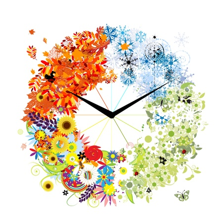 Design of clock  Four seasons, concept  Vector