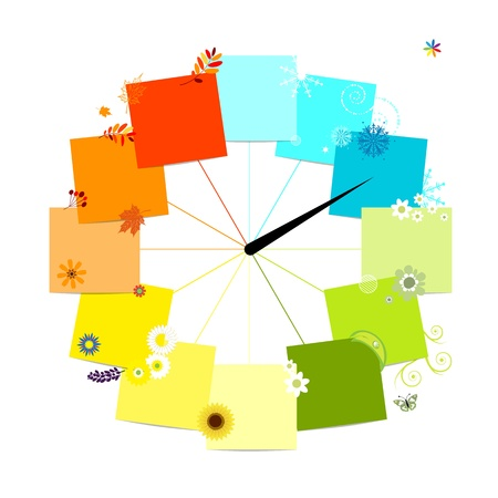 Design of clock  Four seasons, concept  Stock Vector - 13816043