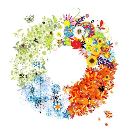 four seasons: Four seasons frame - spring, summer, autumn, winter