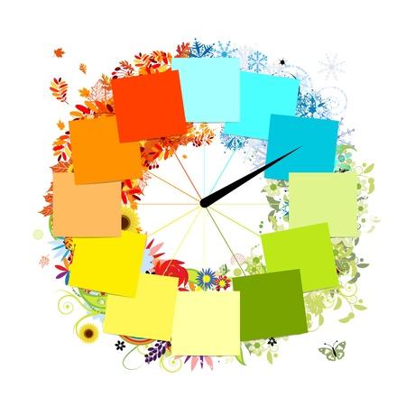 månader: Design klock Fyra årstider, koncept Illustration