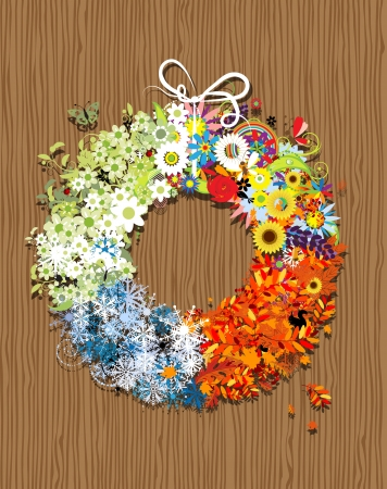 Four seasons frame - spring, summer, autumn, winter   Vector