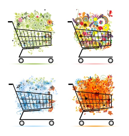 Four seasons concept, bouquets in shopping carts Vector