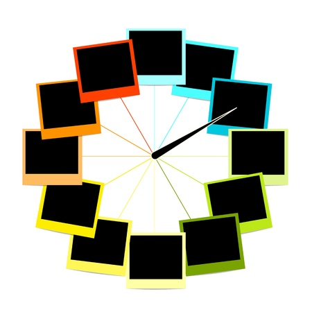 Creative clock design with photo frames Vector