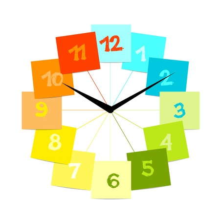 Creative clock design with stickers for your text Vector