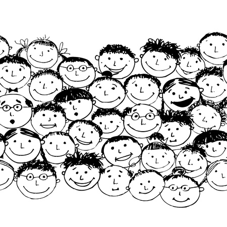 company party: Crowd of funny peoples, seamless background for your design