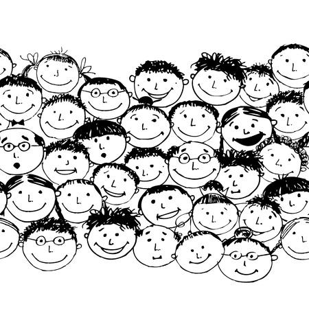 paz mundial: Multitud de pueblos divertidos, de fondo sin fisuras para su diseño