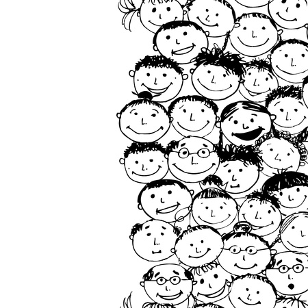 friends and family: Crowd of funny peoples, seamless background for your design