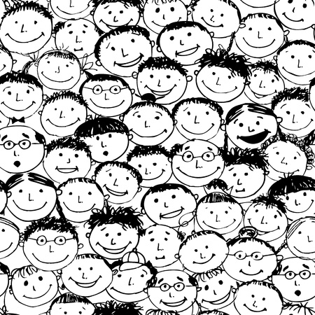 teamwork cartoon: Crowd of funny peoples, seamless background for your design