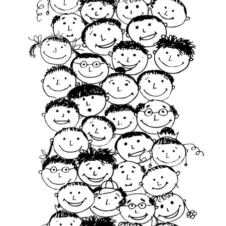 cartoons designs: Folla di persone divertenti, seamless sfondo per il tuo design