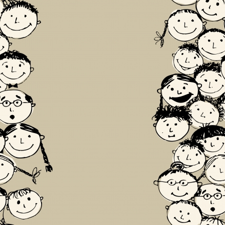 Crowd of funny peoples, seamless background for your design Stock Photo - 14135424