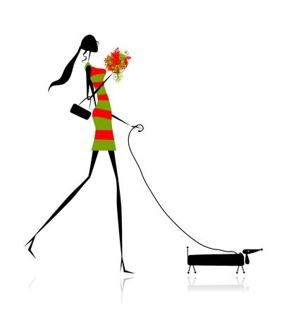 meisje silhouet: Fashion meisje silhouet wandelen met hond
