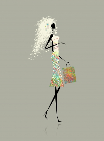 Pretty woman with shopping bag for your design Vector