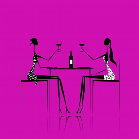 Girls drinking wine in cafe