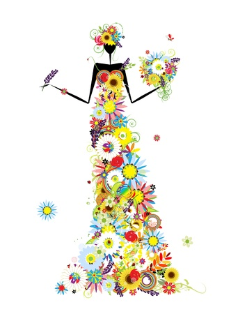 Floral woman with summer bouquet for your design Vector