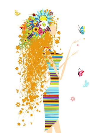 Floral woman with butterfly for your design Vector
