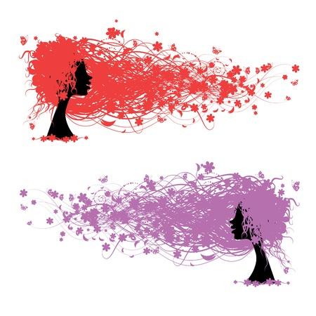 Frauenkopf mit Blumen-Frisur für Ihr Design