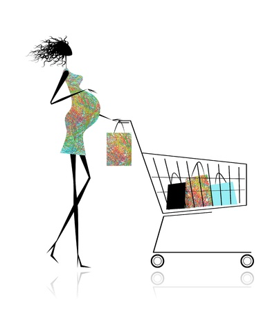 Pregnant woman with shopping bags for your design Vector