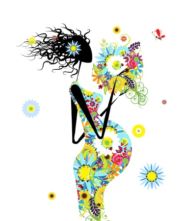 Pregnant woman with floral bouquet for your design Vector