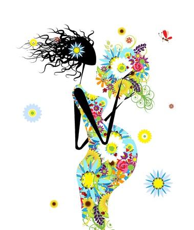 Zwangere vrouw met boeket bloemen voor uw ontwerp