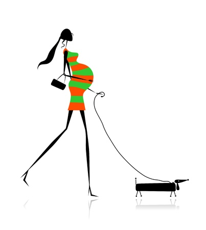 Pregnant woman walking with dog for your design
