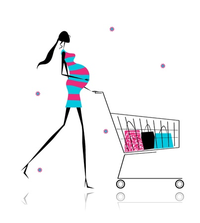 woman shopping cart: Pregnant woman with shopping bags for your design Editorial