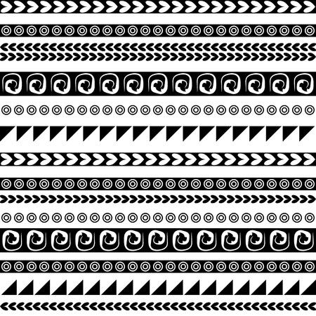 bordes decorativos: Ornamento sin fisuras étnicas para su diseño