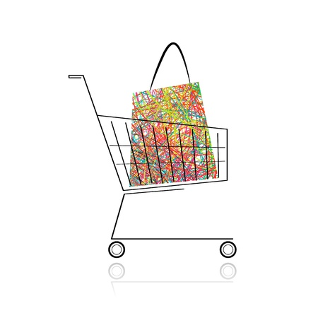 Supermarket cart with shopping bag for your design  Stock Photo - 14135416