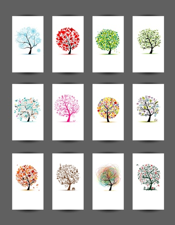cartoon birds: 12 cards with trees design  Season holiday