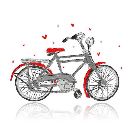 hand crank: Boceto de vieja bicicleta para su dise�o Vectores