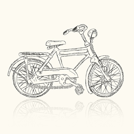 hand crank: Sketch of old bicycle for your design Illustration