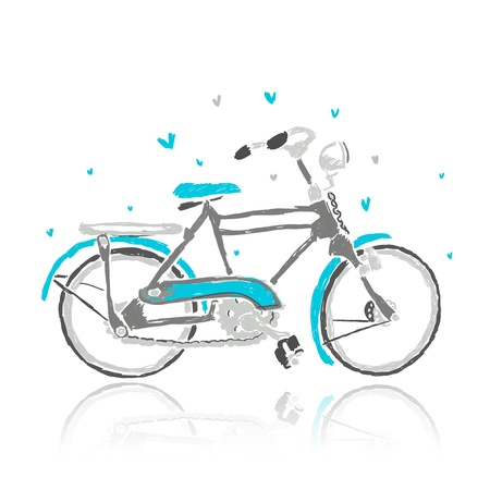 bike chain: Sketch of old bicycle for your design Illustration