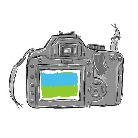 Sketch of camera for your design Vector