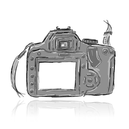 vintage camera: Sketch of camera for your design