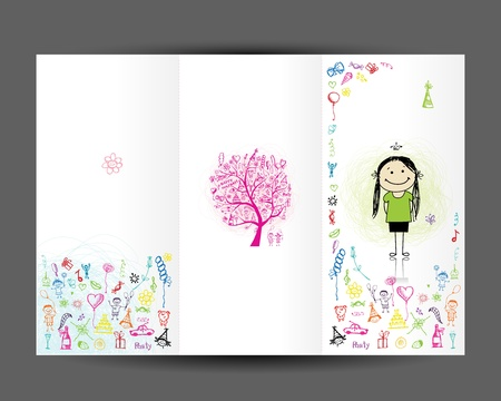 cover girls: Birthday postcard, cover page  Design for your print