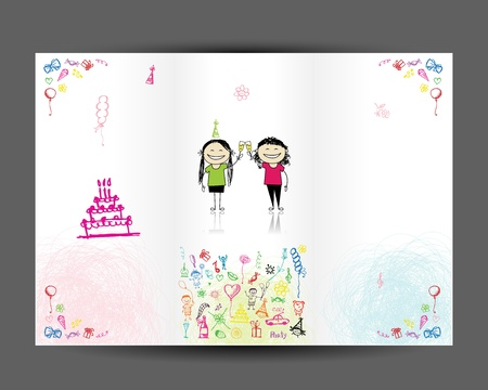 Birthday postcard, inside page  Design for your print Vector