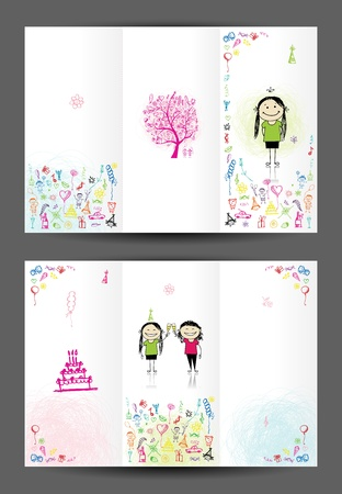 bubbles card: Birthday postcard, cover and inside page  Design for your print Illustration