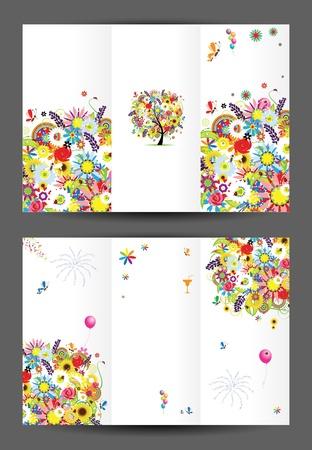 誕生日のはがき、カバー、内部ページ デザイン印刷