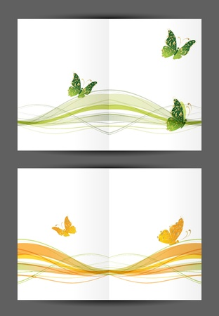 Abstract postcard with butterflies, cover and inside page  Design for your print Vector
