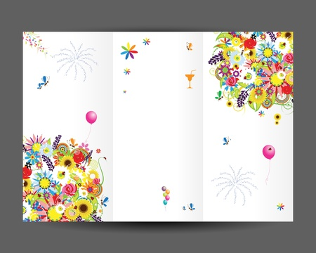white greeting: Birthday postcard, inside page  Design for your print
