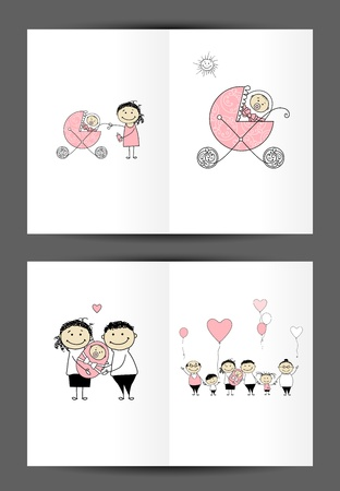 Newborn postcard, cover and inside page  Design for your print Stock Vector - 14365983