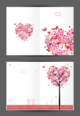 Wedding postcard, cover and inside page  Design for your print