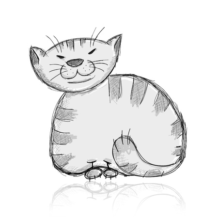 Sketch of funny big cat for your design Vector